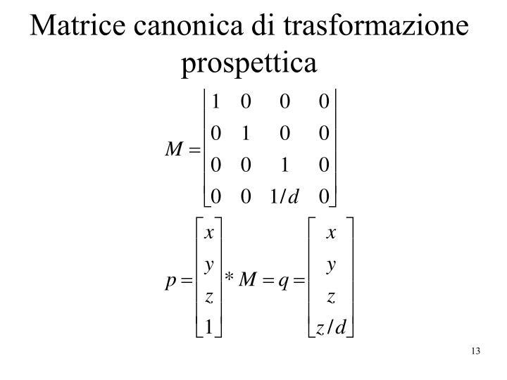 Matrice canonica di trasformazione prospettica