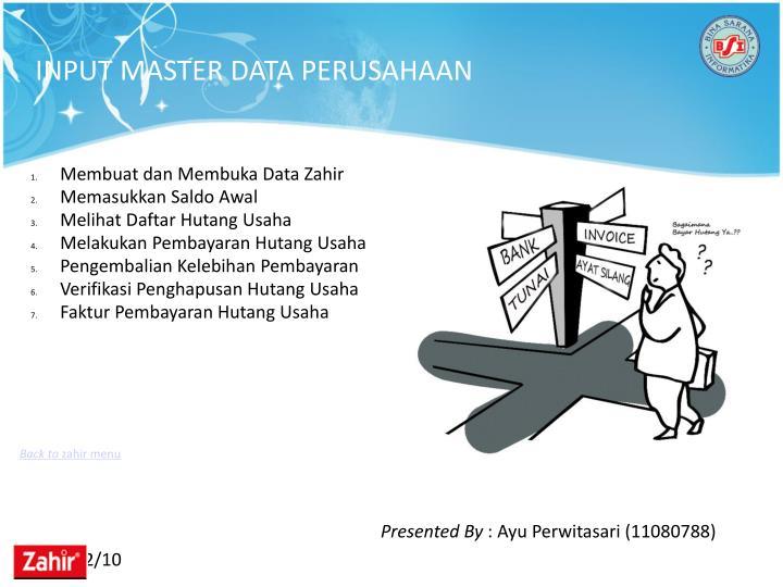 INPUT MASTER DATA PERUSAHAAN