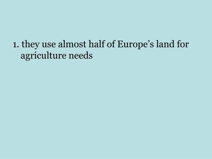 1. they use almost half of Europe's land for agriculture needs