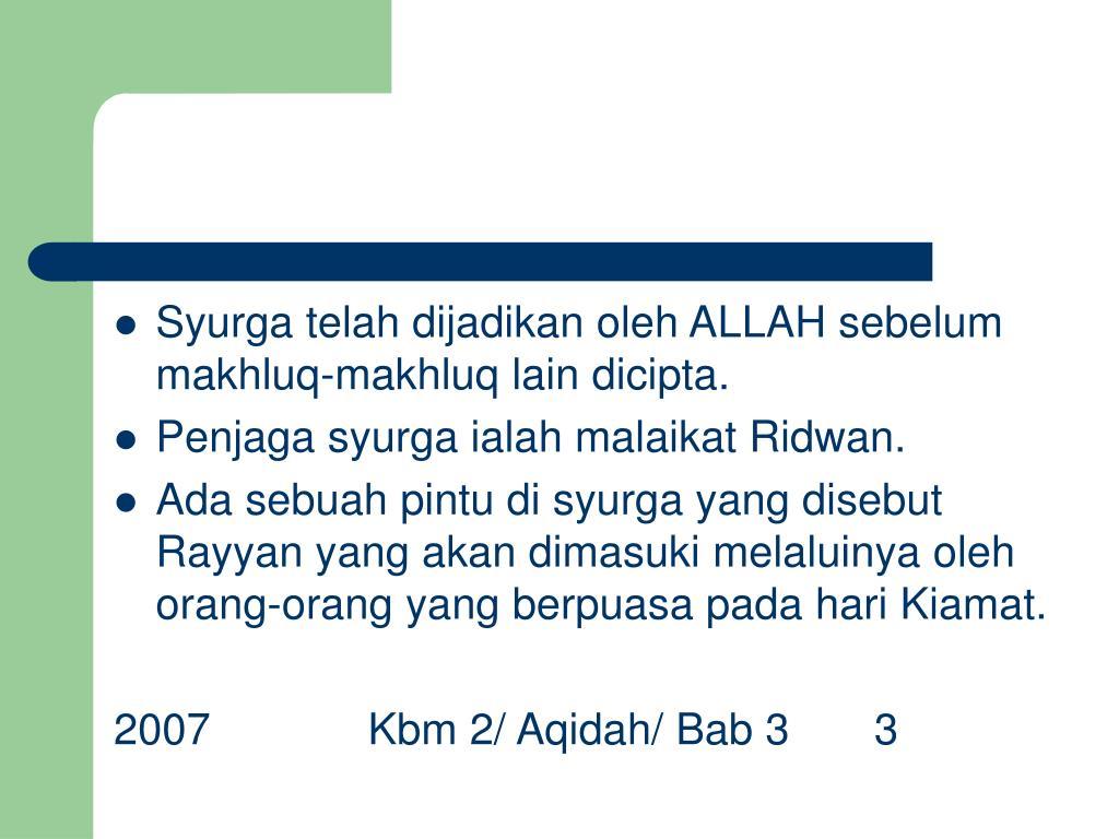 PPT KBM 2 Aqidah Islamiah Bab 3 Syurga Dan Neraka