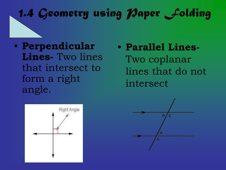 1 4 geometry using paper folding