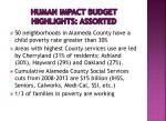 human impact budget highlights assorted