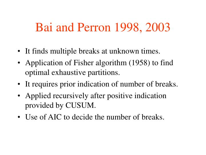 Bai and Perron 1998, 2003