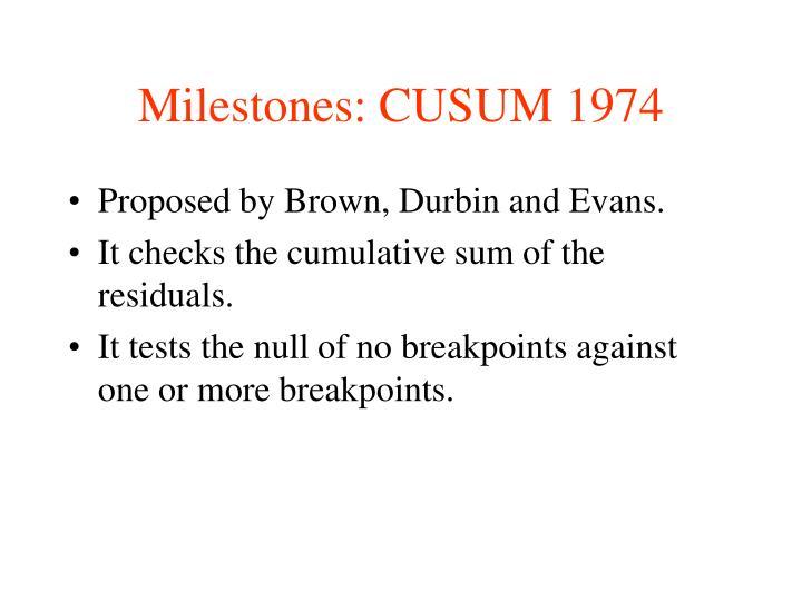 Milestones: CUSUM 1974