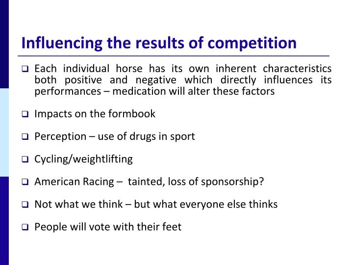 Influencing the results of competition
