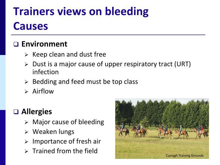 Trainers views on bleeding