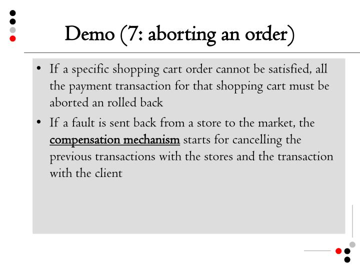 Demo (7: aborting an order)