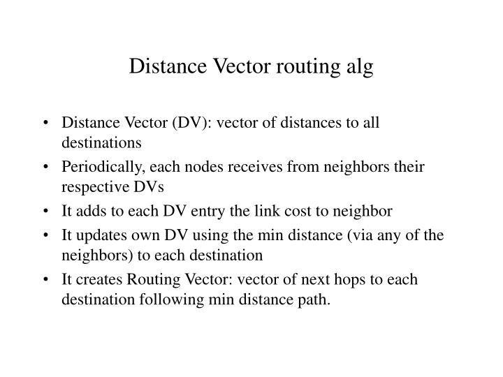 Distance Vector routing alg