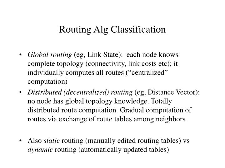 Routing Alg Classification