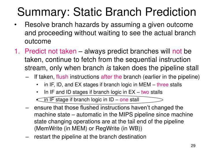 Summary: Static Branch Prediction