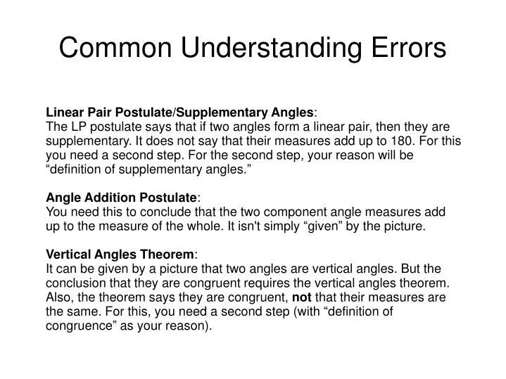 Common Understanding Errors