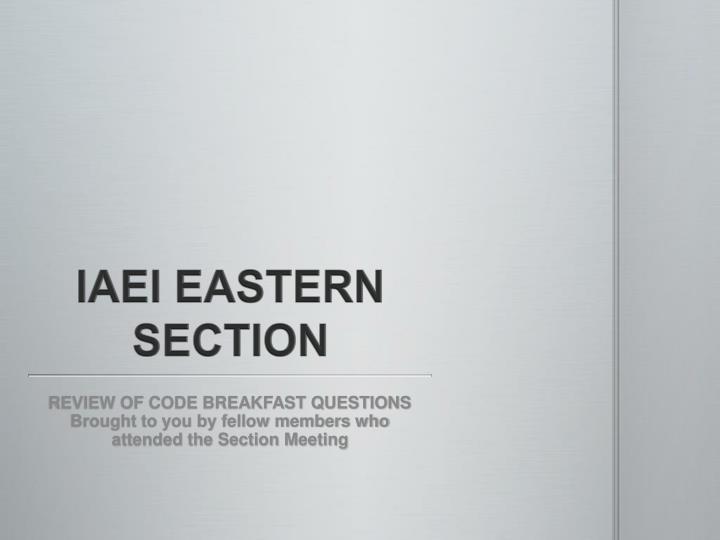 iaei eastern section n.
