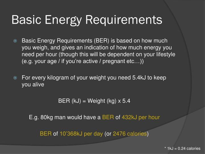 Basic Energy Requirements