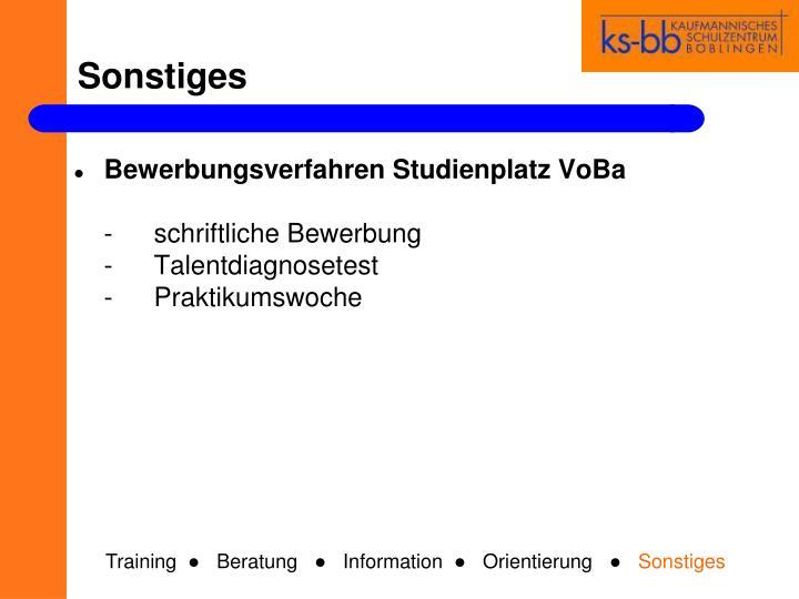 Bewerbungsverfahren Studienplatz VoBa