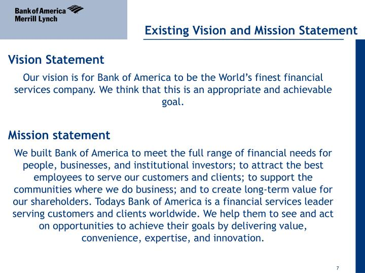 strategic management for bank of america Banking products are provided by bank of america, na and affiliated banks  members fdic and wholly owned subsidiaries of bank of america corporation.