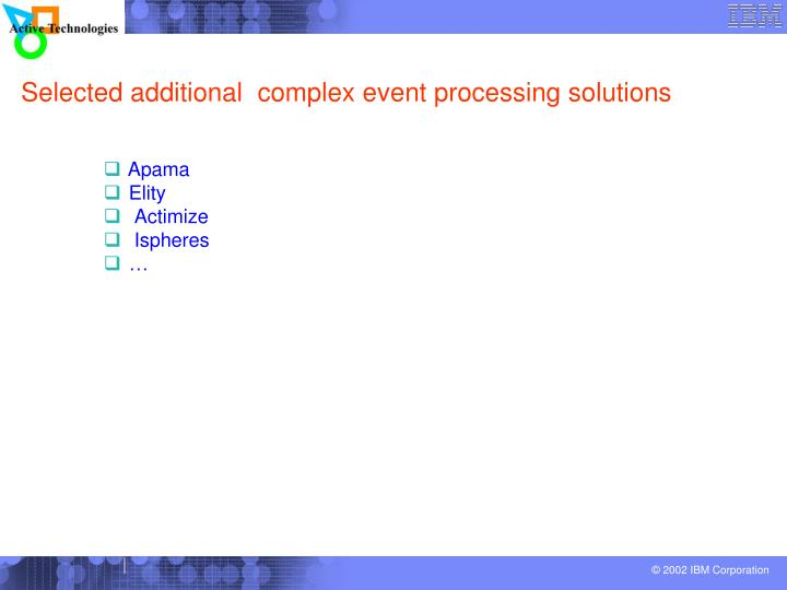 Selected additional  complex event processing solutions