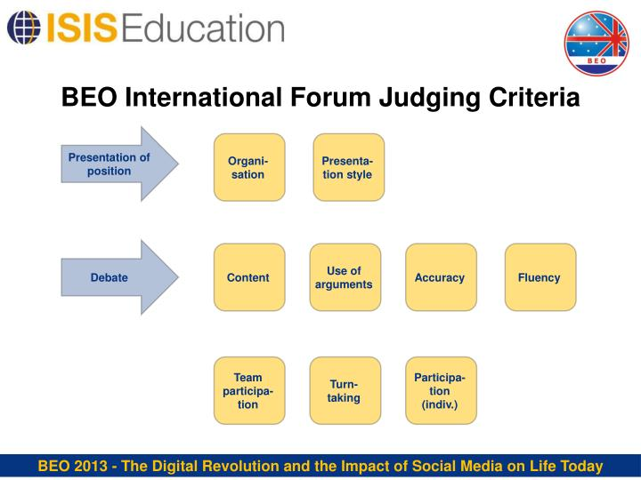 BEO International Forum Judging Criteria