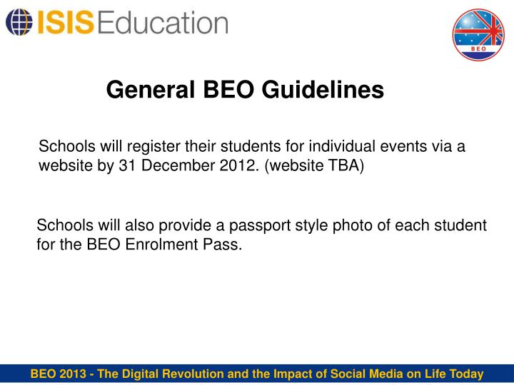 General BEO Guidelines