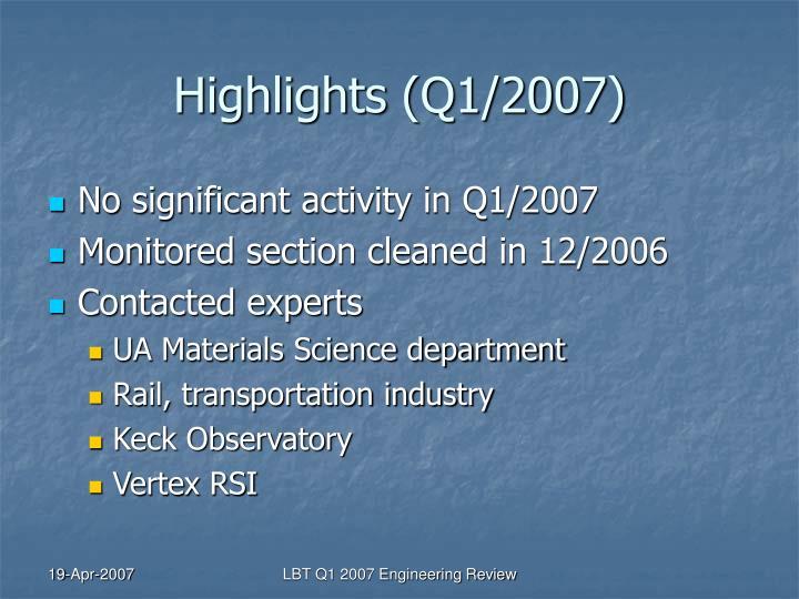 Highlights q1 2007