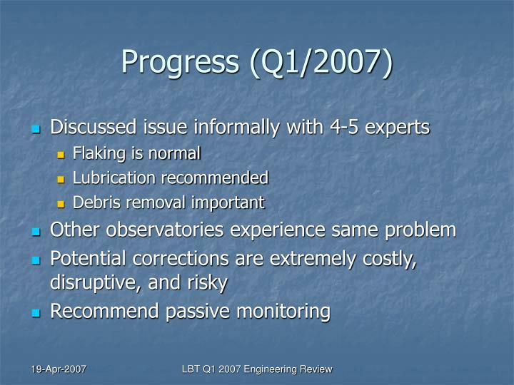 Progress (Q1/2007)