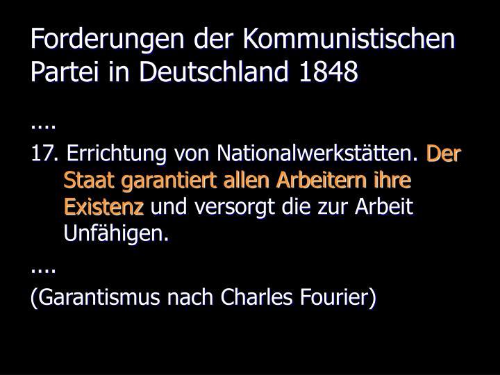Forderungen der Kommunistischen Partei in Deutschland 1848