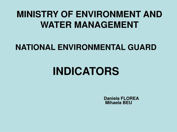 ministry of environment and water management n.