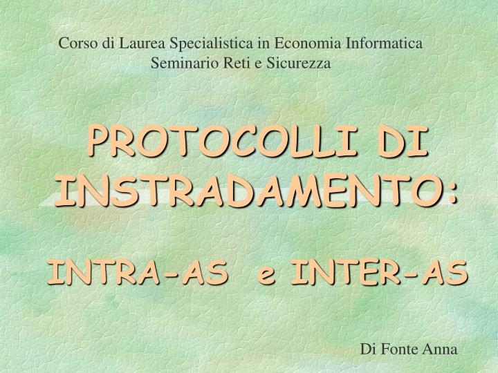 protocolli di instradamento intra as e inter as n.