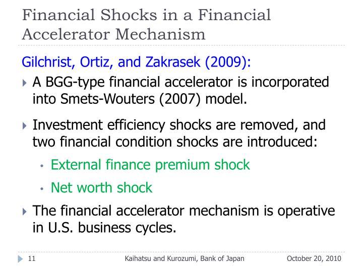 Financial Shocks in a Financial Accelerator Mechanism