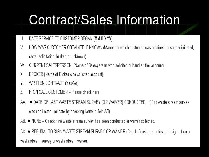 Contract/Sales Information
