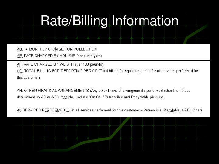 Rate/Billing Information