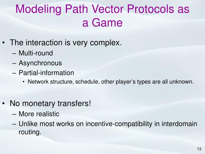 Modeling Path Vector Protocols as a Game