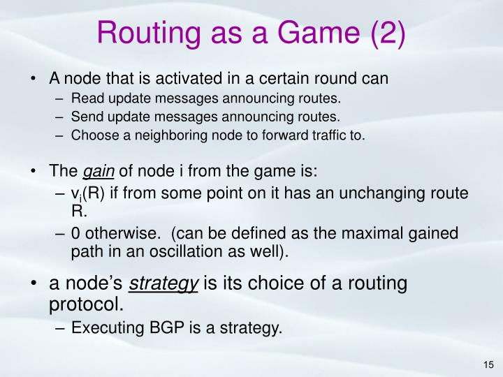 Routing as a Game (2)