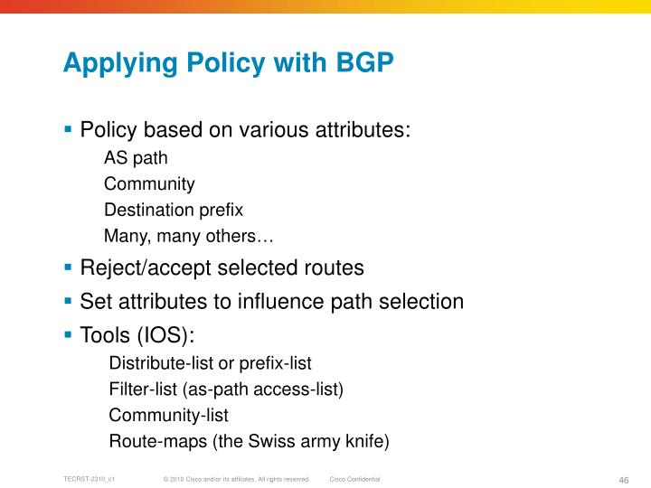 Applying Policy with BGP