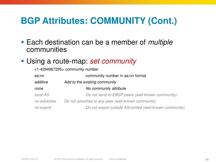 BGP Attributes: COMMUNITY (Cont.)