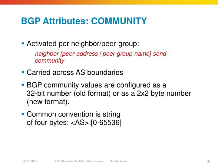BGP Attributes: COMMUNITY