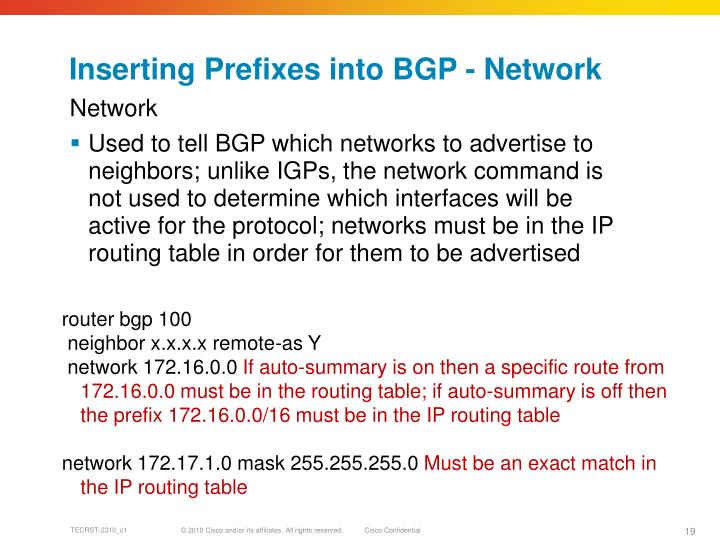 Inserting Prefixes into BGP - Network