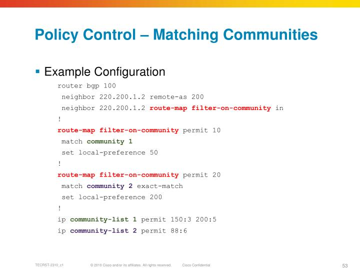 Policy Control – Matching Communities