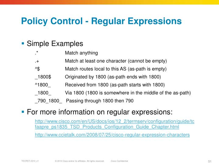 Policy Control - Regular Expressions