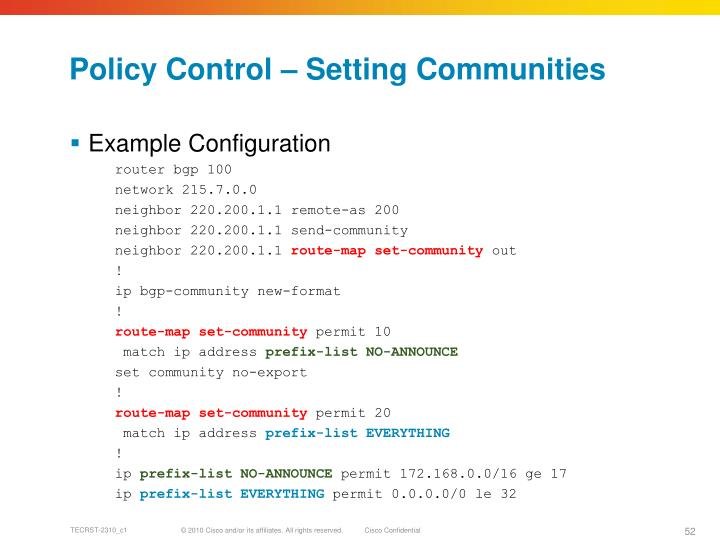 Policy Control – Setting Communities