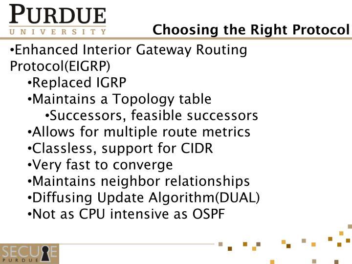 Enhanced Interior Gateway Routing Protocol(EIGRP)