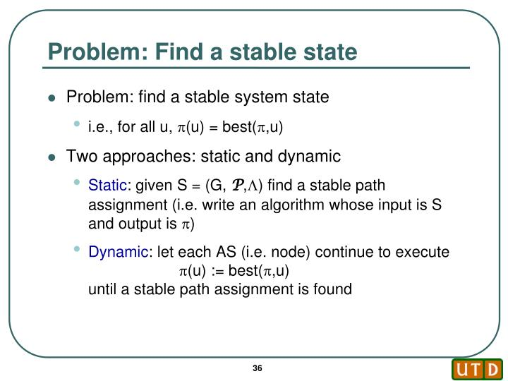 Problem: Find a stable state