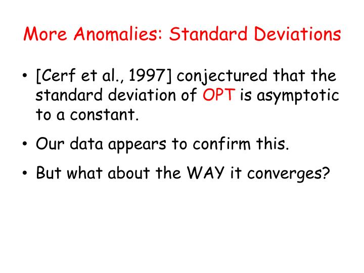 More Anomalies: Standard Deviations