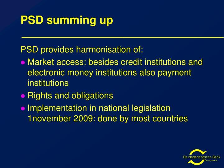 PSD summing up