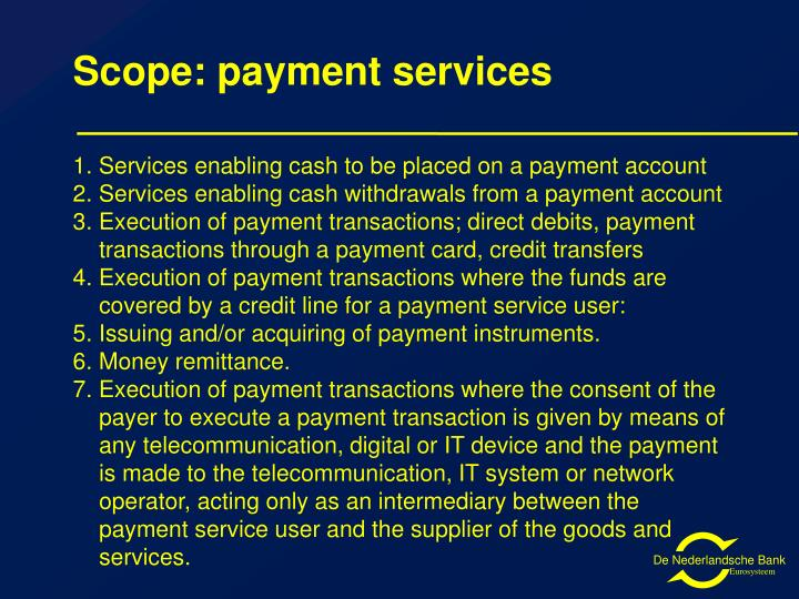 Scope: payment services