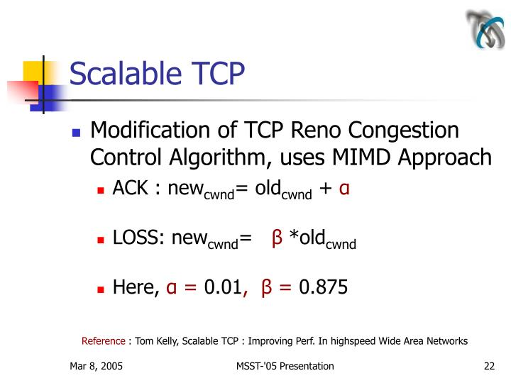 Scalable TCP