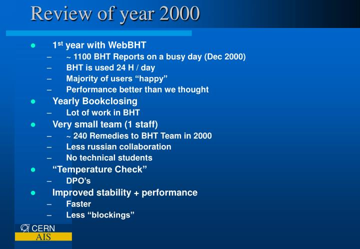 Review of year 2000