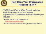 how does your organization request t ta