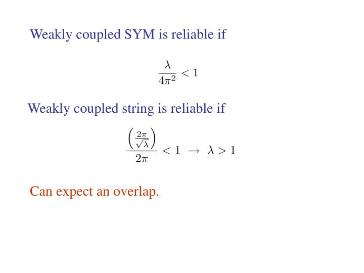 Weakly coupled SYM is reliable if