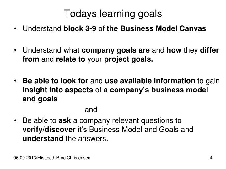 Todays learning goals