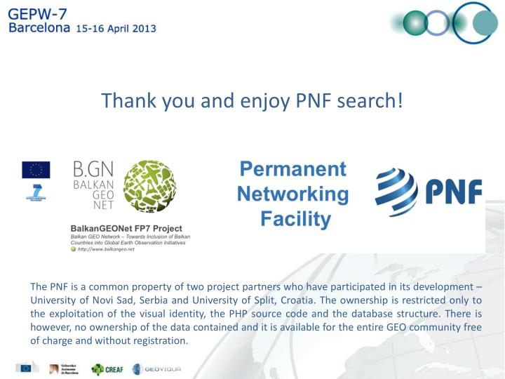 Thank you and enjoy PNF search!